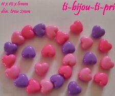 LOT de 60 PERLES COEURS rose violet fuschia acrylique 11 x 10 mm création bijoux