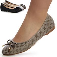 Donna Pantofole di ballerina fiocco Loafer Scarpe basse zeppa casual DECORO