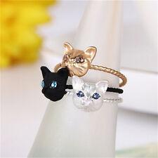 Women Mini Lovely Cat Shaped Ring Rhinestone Studd Ring Black Gold Silver  SEAU