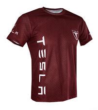 Tesla Motors Logo Brick Color high quality graphic sublimated men's t-shirt