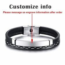 Multi Layer Leather Men Bracelet Wristband Bangle Customize Personalized Engrave