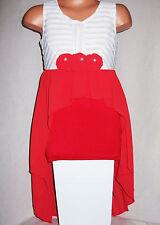 Filles Blanc Dentelle Rosette Bordure Rouge Mousseline Dip Hem Soirée Occasion Robe de soirée