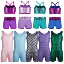 Girls Balley Dance Gymnastics Sleeveless Leotards Kids Mermaid Jumpsuit Costumes