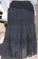 Adini 100% Cotton Black Crinkle Boho Flare Skirt with Embroidery