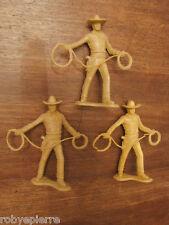3 soldatini vintage plastica toy soldiers 8 cm cowboy con lazo western cowboys