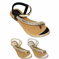 JLH753 Asia Womens Stretchy Asymmetric Strap Diamante Fashion Thong Sandal