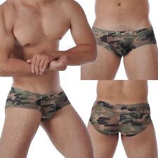 Men's Mini Boxer Briefs Soft Camouflage Camo Underwear Bulge Pouch Jockstraps