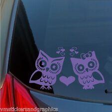 Owl love birds vinyl sticker hearts decal car truck SUV bumper window wall home