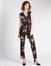New M&S Per Una  Black Floral V Neck Belted Jumpsuit Sz UK 24