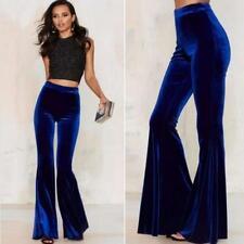 Women Velvet High Waist Stretchy Shiny Flare Bell Bottom Pants Fashion Trousers