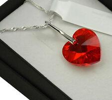 925 Collar De Plata Hecho con Cristales de Swarovski * * Siam Luz Corazón