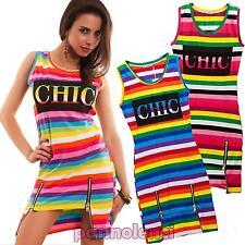 Vestito donna miniabito copricostume arcobaleno multicolor zip nuovo T5782