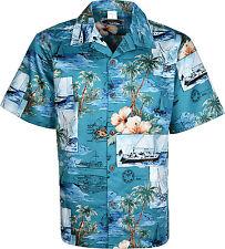 Mens Hawaiian Shirt Short Sleeves Full Front Button Closure