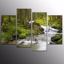 Landscape Canvas Art Prints Brook Modern Wall Art Printed Painting Picture-4pcs