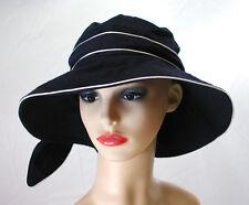 Pia Rossini Puerto Cotton Sun Hat Bow Trim Ladies Classic Summer Dark Navy/White