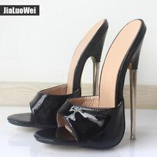 Women's Shoes Sexy Nightclub High Heels Mules Sandals Peep Toe Patent Leather SZ
