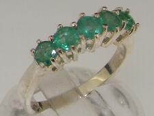 Sólido de plata esterlina 925 anillo de banda de estilo contemporáneo Esmeralda Natural