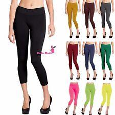 "Seamless Basic Stretch Capri 27"" Leggings Skinny Slim Fits Yoga Pants"