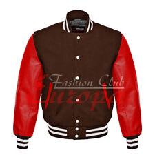 American Unisex Red Real Leather Sleeves Letterman College Varsity Wool Jacket