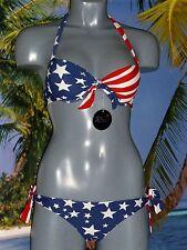 Neckholder Push Up Bikini USA Flagge Stars&Stripes Amerika Bikini USA Bikini