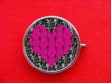 HEART FILIGREE PINK DAMASK ROUND METAL PILL MINT BOX
