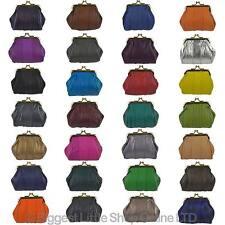 Nuevas señoras de cuero suave Clásico Broche Monedero 28 Colores Negro Práctico Regalo