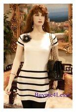 Celebrity Women White Black Stripe Tunic Short Sleeve Knit Sweater Dress S M L