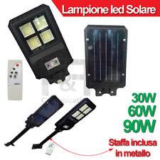 LAMPIONE LED STRADALE SOLARE SMD 30W 60W 90W TELECOMANDO PANNELLO SOLARE STAFFA