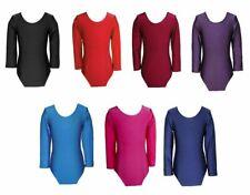 Girls Nylon Lycra Stretch Long Sleeve Leotard Kids Bodysuit