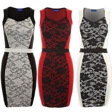 Women's Sleeveless Mesh Lace Insert Stripe Waist Ladies Bodyon Dress