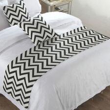 Black White Stripe Bed Runner Single Double King Home Hotel Bedding Tail Flag
