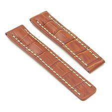 DASSARI Vantage Crocodile Rust Leather Watch Band Strap Deployment fit Breitling