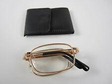 Folding Reader reading Clear Glasses + Free Micro Fiber Cloth $3.00 GOLD RF2D