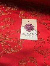 """Rosso e oro nastro e fiocco JACQUARD cinesi BROCCATO tessuto 45 """"WIDE M381 mTEX"""