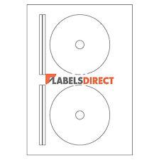 Premium Blanc Visage Complet DVD A4 étiquettes 2 par feuille. laser jet d'encre Copieur Imprimantes