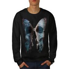 Wellcoda Butterfly Skull Face Mens Sweatshirt, Bone Casual Pullover Jumper