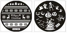 Konad Styled CHRISTMAS, HALLOWEEN +  Image Plate Nail Art Stamping- HeHe Series