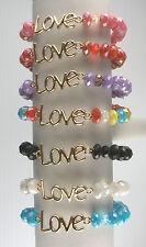 Stretch LOVE Beaded Bracelet assorted colors Adjustable