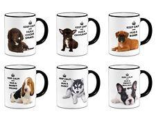 Keep Calm And Hug A... Novelty Gift Mug Variation + Black Rim/Handle