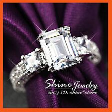 9K WHITE GOLD GF R13 SQUARE ANTIQUE WEDDING TRILOGY DIAMOND LADIES SOLID RINGS