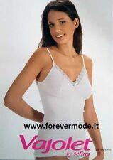 Canottiera donna Vajolet in cotone spalla stretta con reggiseno e pizzo art 5720