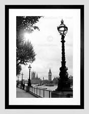 DT RIVER THAMES BIG BEN MONOCHROME BLACK FRAME FRAMED ART PRINT PICTURE B12X8660