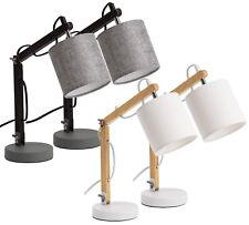 BRUBAKER 2 Nachttischlampen Leselampen 52 cm Fuß Holz Schwarz Grau / Natur Weiß