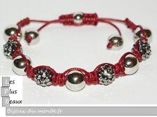 Bracelet STYLE SHAMBALLA FIL ROUGE Grenat Boule DISCO & macramé NEUF