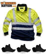 Standsafe HV033 HIGH VIZ TWO TONE WORKER POLO LONG SLEEVE Yellow FREE SOCKS