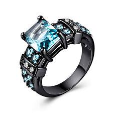 Fashion 14kt Black Gold Filled Princess Cut Aquamarine Women Ring Size 6-10