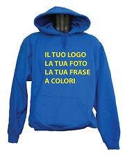 FELPA CON CAPPUCCIO UNISEX PERSONALIZZATA LOGO FOTO PUBBLICITA' !! IDEA REGALO