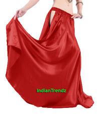 Red Satin Panel Full Circle Skirt Belly Dance Tribal Slit Gypsy Oriental