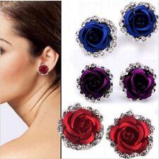 Elegant Women Rose Flower Crystal Rhinestone Stone Ear Stud Pierced Earrings Hot