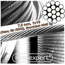 VA-Seil 7 mm 1X19 RIGG-Drahtseil Edelstahl A4 WANTEN Stahlseil NIRO Stahldraht